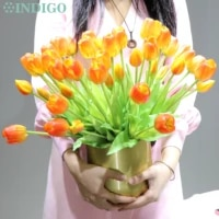 indigo 3 flowers2 bud tulip bouquet real touch silicone high quality home customized artificial flower wedding free shipping