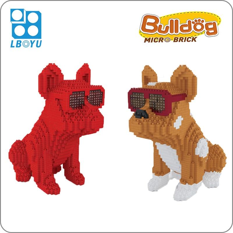 Anteojos con forma de Bulldog, perro manchado, Animal rojo, mascota DIY, modelo 3D, Mini bloques pequeños de diamante, juguetes de construcción para niños sin caja
