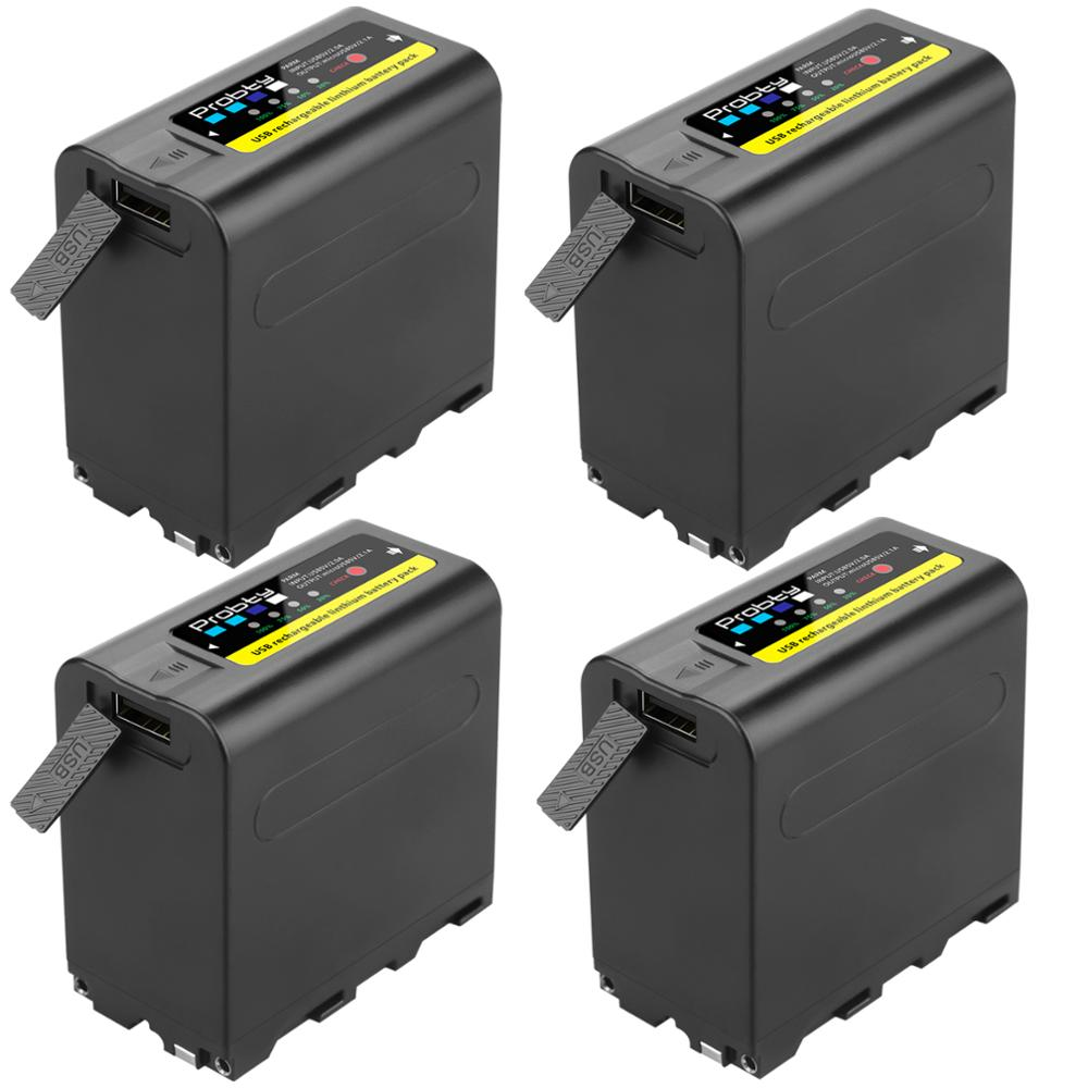 4 pièces USB sortie 8800mAh NP-F970 batterie avec indicateur de alimentation LED pour Sony NP-F970, NP-F975, NP-F960, NP-F950, NP-F930, DCR, DSR