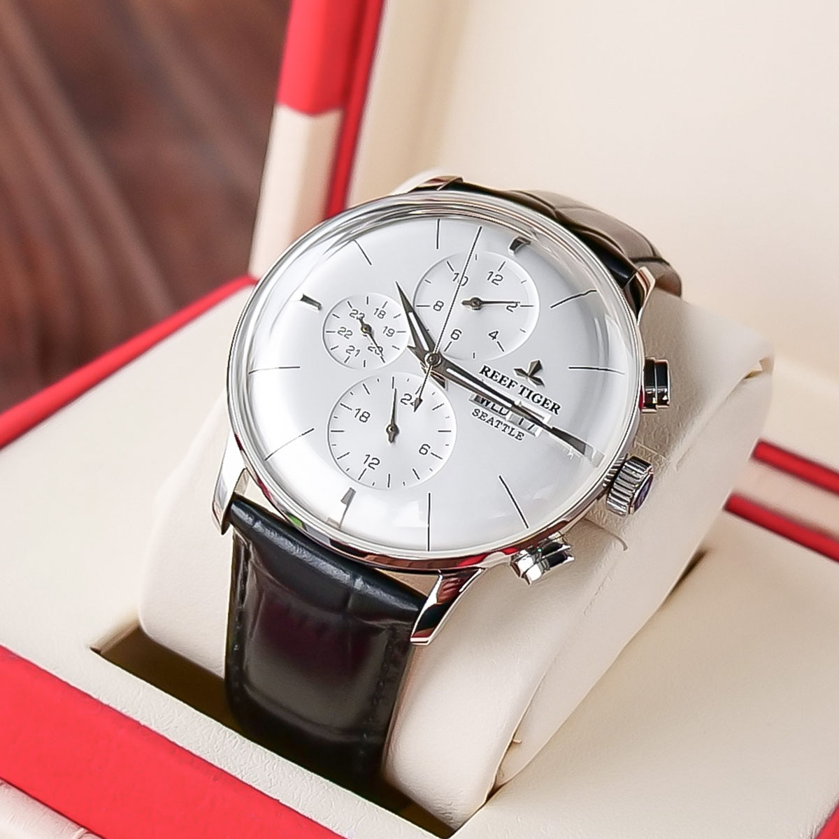 ريف تايجر-ساعة يد رجالية ، متعددة الوظائف ، فاخرة ، عصرية ، جلد طبيعي ، أوتوماتيكي ، نحيف للغاية ، RGA1699
