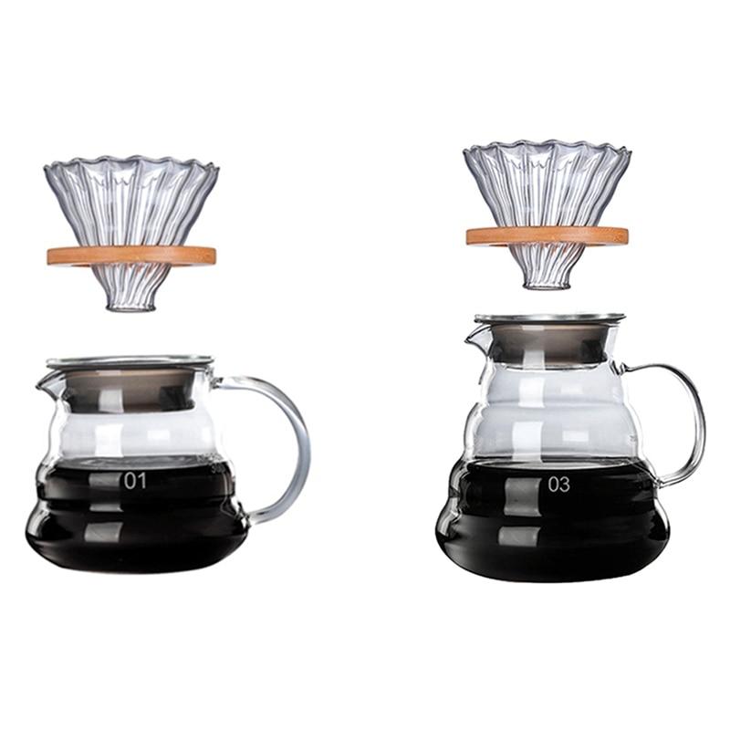 1 مجموعة خشبية بين قوسين الزجاج فنجان القهوة و وعاء مجموعة V60 الزجاج القهوة تصفية قابلة لإعادة الاستخدام مرشحات القهوة 300 مللي و 700 مللي