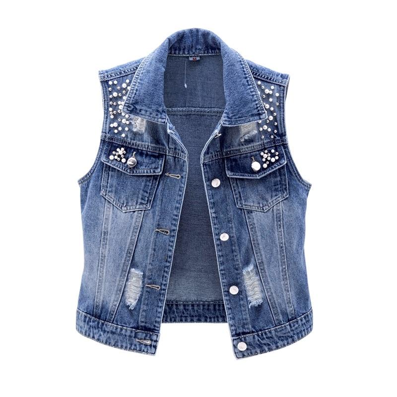 Винтажный короткий джинсовый жилет для женщин новые весенние без рукавов, украшенное бусинами, куртка размера плюс джинсовое приталенное с...