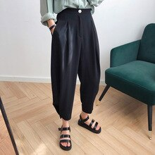Spring New 2021 Chic Fashion High Waist Harlan Pants Women's Drop Wide Leg Trousers Capri Casual Pan