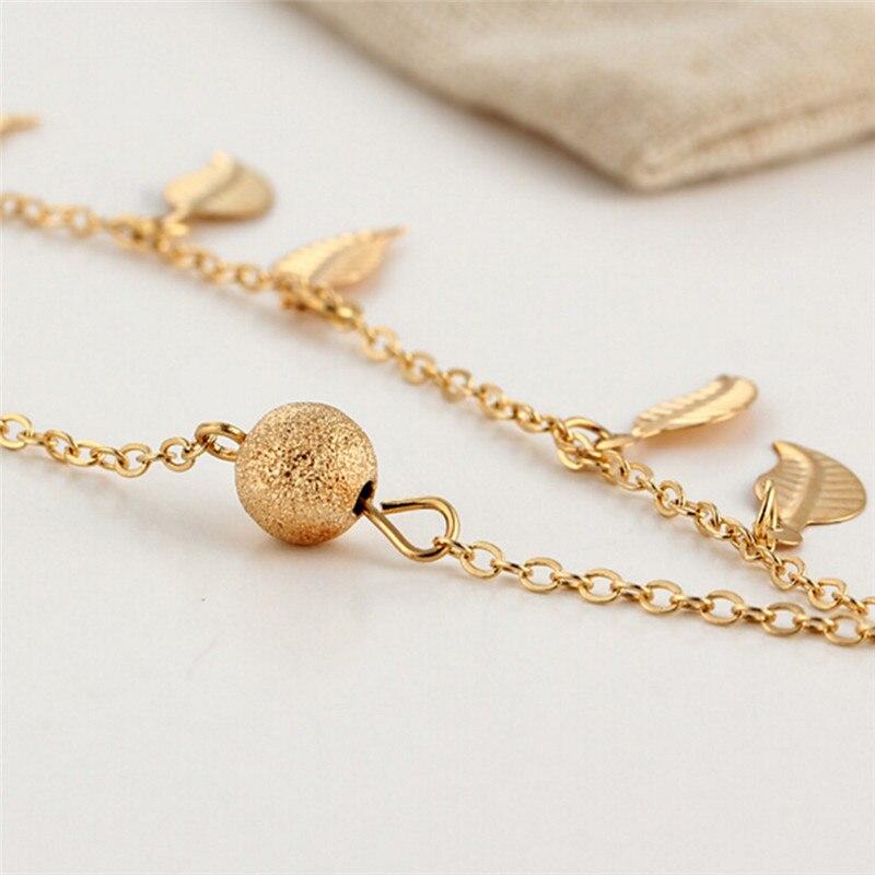 Fashion Foot Jewelry Barefoot Sandal Gift Gold Sliver Color Link Chin Anklets Bohemian Leaf Anklets For Women Bracelets