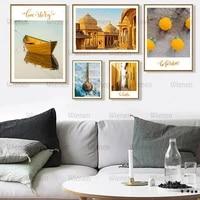 Toile peinture chateau bateau nordique paysage mur Art affiche belle Art affiches et impressions mode decor a la maison pour salon