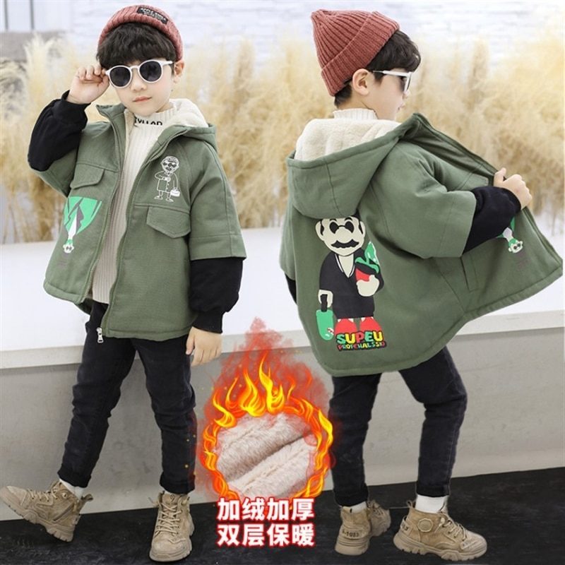 Boys' coat autumn medium and large children's parka boy winter clothes top Korean style fleece-lined mid-length trench coat enlarge