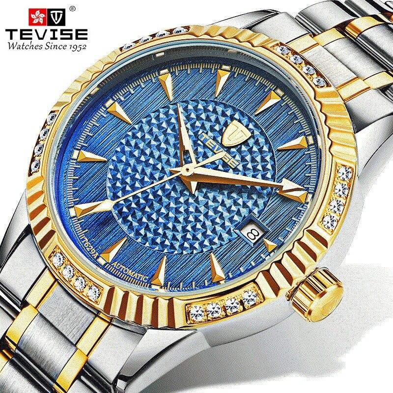TEVISE relojes mecánicos negocio Casual reloj de diamantes impermeable automática relojes de pulsera de regalo de la caja de reloj Masculino