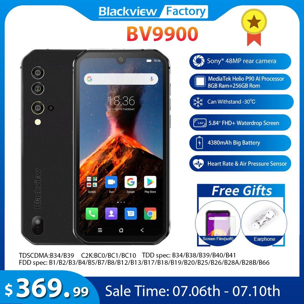 Blackview a BV9900 + 8GB + 256GB Helio P90 Octa Core Smartphone IP68 resistente teléfono móvil Android 9,0 48MP Quad cámara trasera NFC