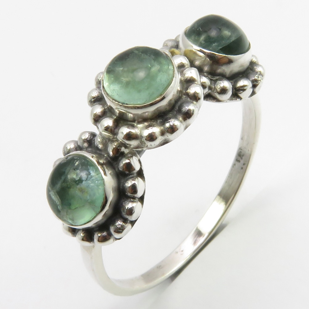 Venda por atacado de jóias verde cab apatite anel sz 8.5