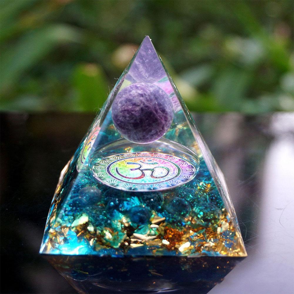 Esfera de Cristal de amatista de pirámide con obsidiana, piedra Natural de...