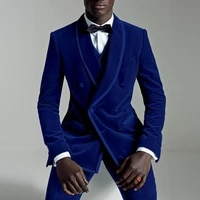 velvet slim fit men suits with double breasted prom stage wedding tuxedos fall 3 piece male set suit jacketvestpants