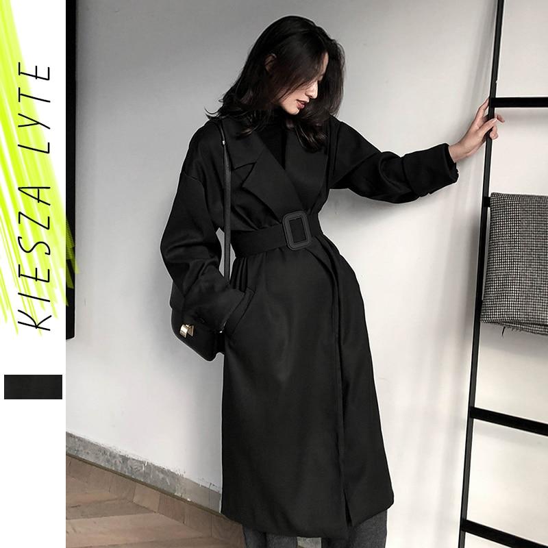 معطف شتوي نسائي طويل مبطن بحزام ، ملابس خارجية مقاومة للرياح ، 2019