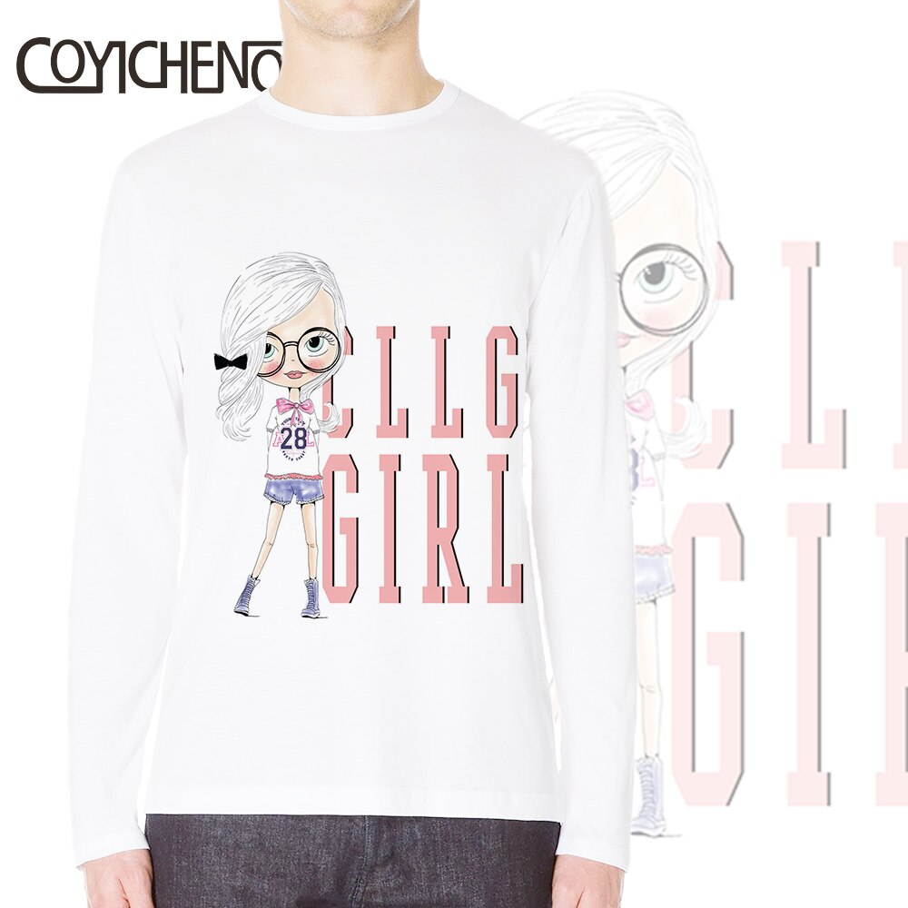 Dibujado a mano moda linda chica Camiseta Hombre invierno camiseta 3XL manga larga modal de gran tamaño cuello redondo personalizar camiseta homme COYICHENOL