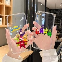 cute cartoon teletubbies phone case transparent for iphone 11 12 mini pro xs max 8 7 6 6s plus x 5s se 2020 xr