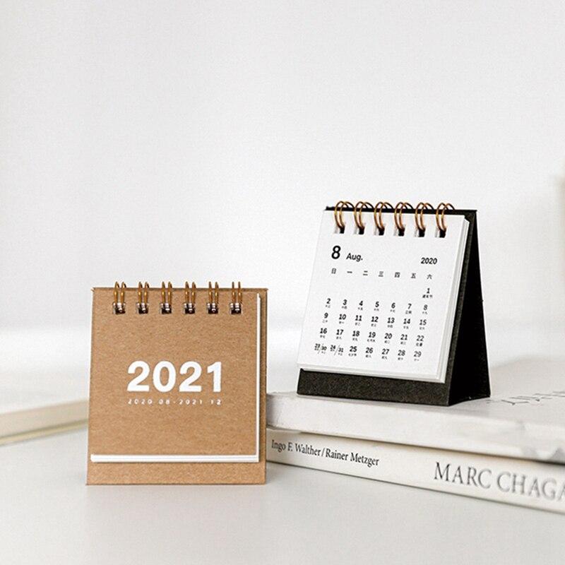 2021 Calendário de mesa de Cor Sólida Simples mini Dual Mesa Planejador Diário Planejador Organizador Agenda Anual