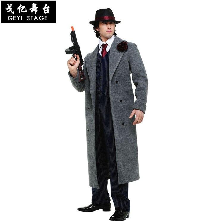 كوس الكبار رجل المافيا زي هالوين خدمة الأداء الكلاسيكية العصابات الباردة القاتل المباحث زي