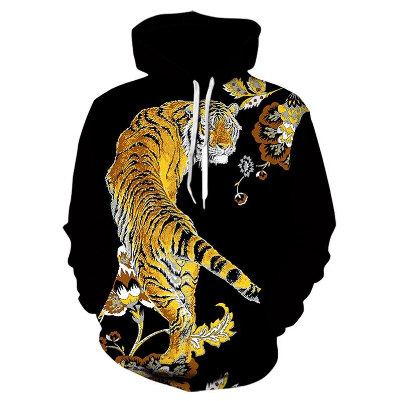 Толстовка мужская с капюшоном, модная Стильная кофта с 3D принтом тигра, с капюшоном, повседневная одежда, весна-осень