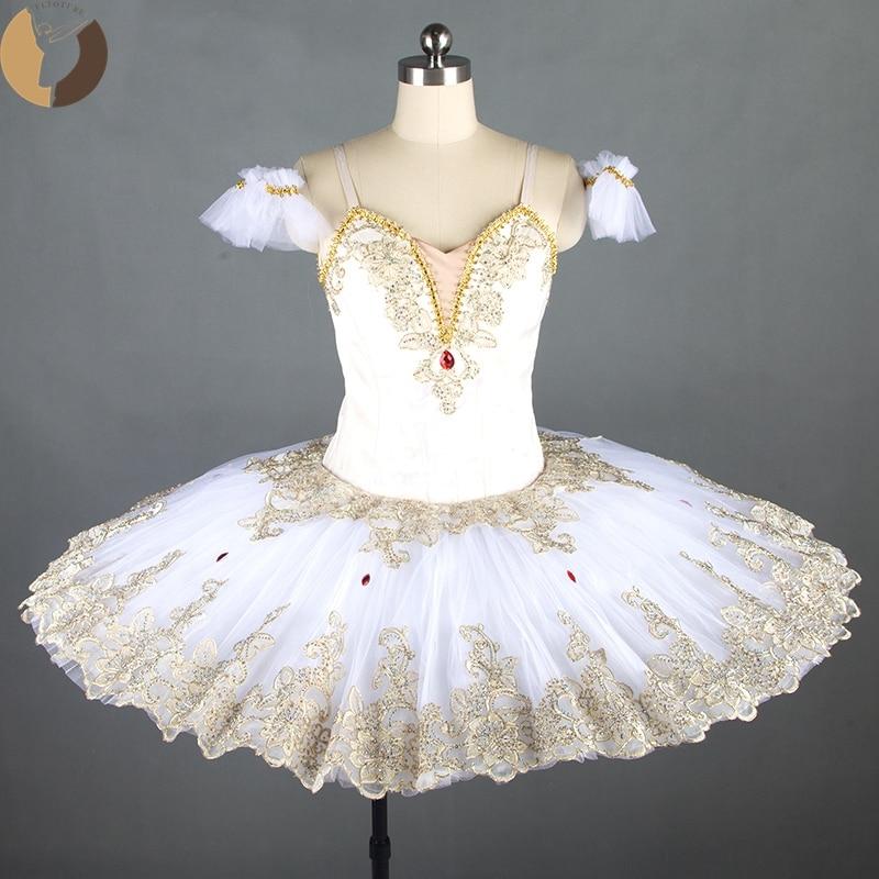FLTOTURE-فستان باليه احترافي للبنات ، فستان توتو دانتيل ، لون كريمي ، زخارف مختلفة