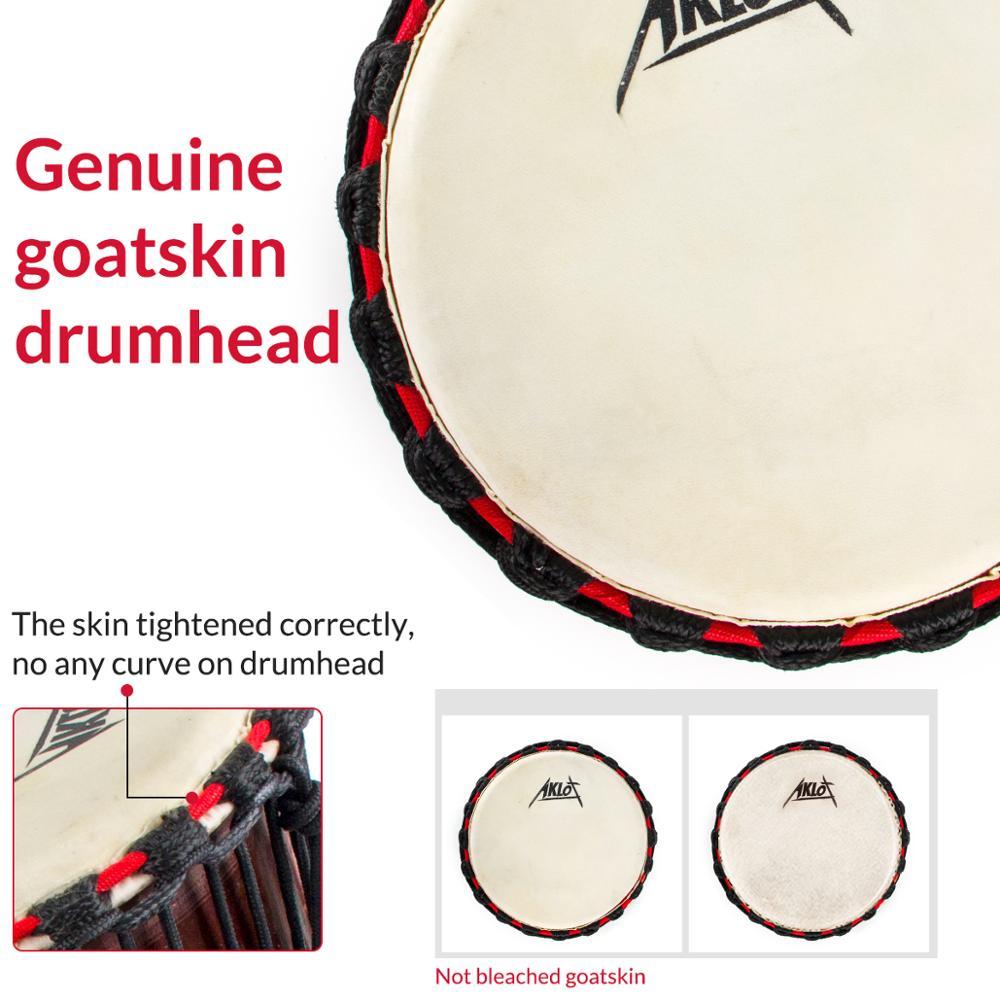 AKLOT Djembe African Hand Drum Percussion Mahogany Standard 10 Inch Goat Skin Drumhead enlarge