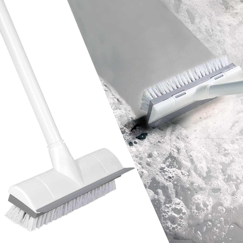 """Cepillo de limpieza de suelo con mango largo de 50 """"mango ajustable de Metal inoxidable, depurador con cerdas rígidas para limpieza de azulejos"""