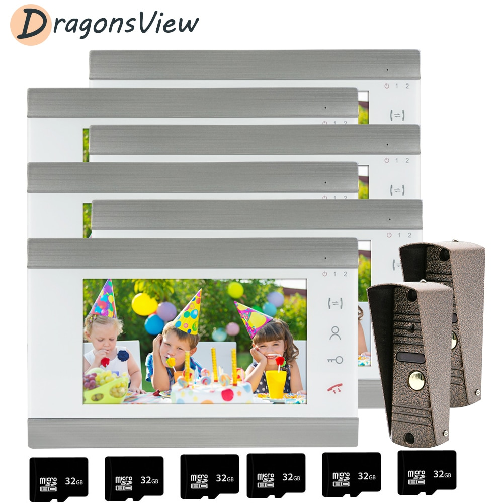 DragonsView Video Intercom Wired 7 inch Video Door Phone for Home Security System 6 Monitors with 2 Waterproof Doorbell Camera