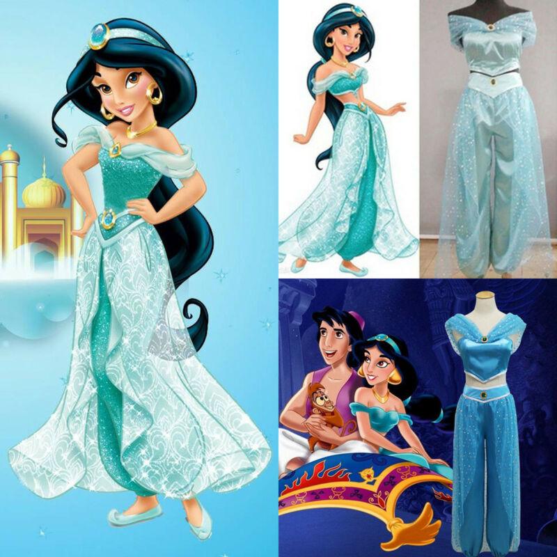 Quente disney aladdin jasmine princesa cosplay feminino conjunto menina vestuário fantasia vestido de festa traje senhoras calças jaqueta lantejoulas 2019