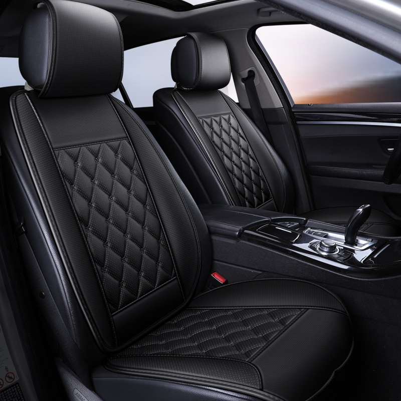 Waterproof Leather Car Seat Cover Protector Mat Universal Front Backret Breathable Car Van Auto Seat