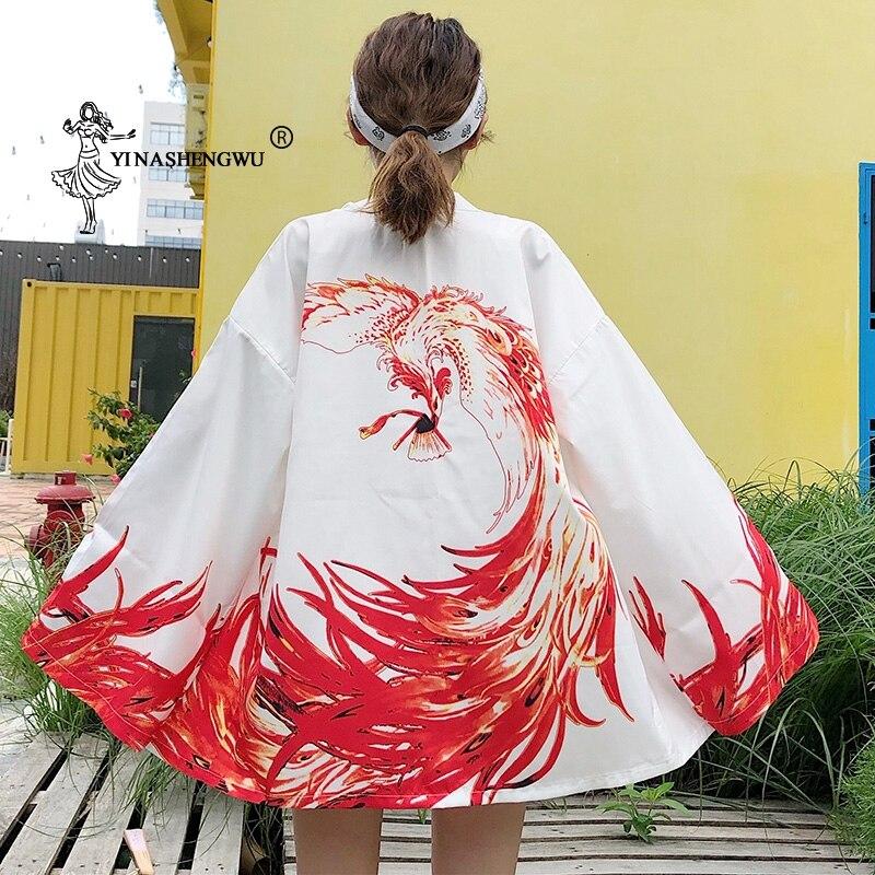 Kimono japonés Cardigan Yukata mujeres dragón impreso camisa de manga larga Casual Kimonos Femme Kawaii Kimono asiático Cosplay disfraces
