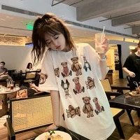 summer short sleeved women t shirt korean style oversized couple loose casual tee cute bear printed cloth kawaii tops tshirts