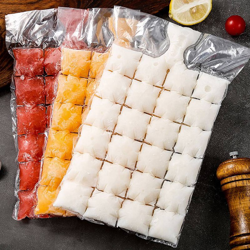 10pcs/pack Ice Cube Mold Disposable Self-Sealing Ice Cube Bags Transparent Faster Freezing Ice-making Mold Bag Kitchen Gadgets