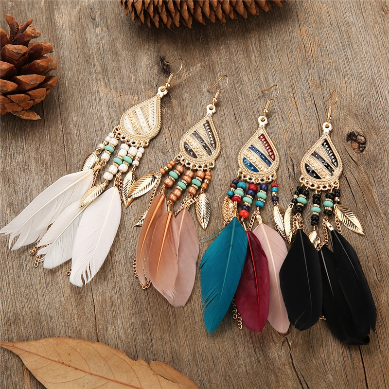 Colorful Feather Vintage Bohemian Fringed water drops earrings temperament wild fairy Boho Indian Jewelry