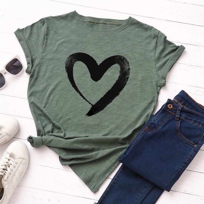 19 # Nueva camiseta de talla grande S-5XL con estampado de corazón...