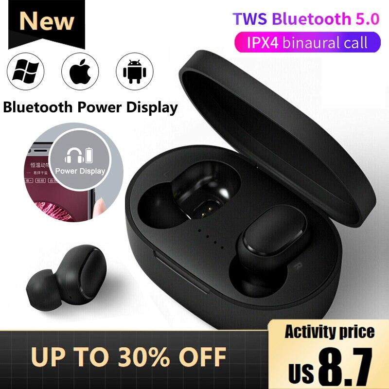Tws telefone inteligente universal bluetooth 5.0 fone de ouvido de carregamento rápido sem fio headphoe estéreo esportes fones microfone