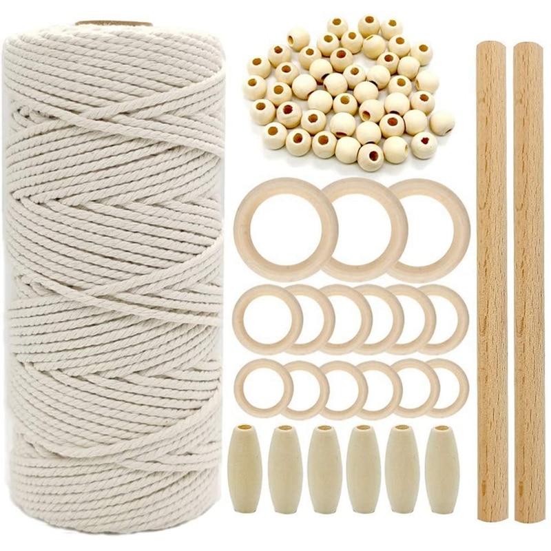Corde de macramé en coton naturel, corde m, anneau en bois, anneau en bois, anneau de dentition, Kit de macramé bricolage suspension murale pour plantes