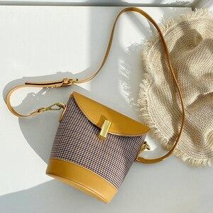 Plaid Hit Color Ladies Small Square Bag Retro Female Handbag Niche Design Woman Shoulder Bag PU Leather Messenger Bag and Purses