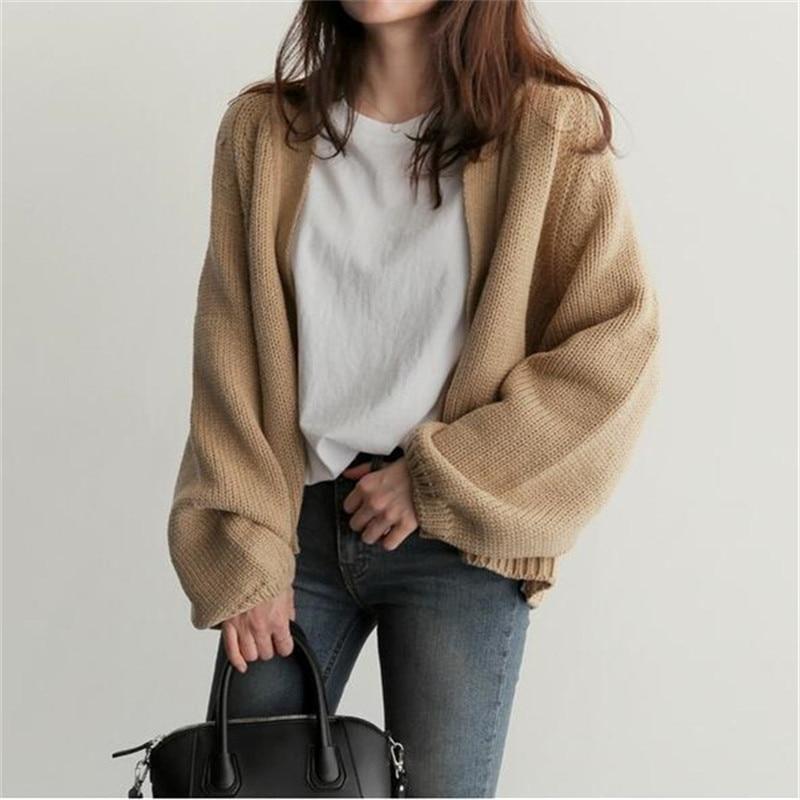 Casual Basic Sweater Cardigan Women 2019 Autumn Winter Solid Open Stitch Loose Sweater Women Jacket