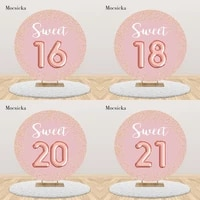 mocsicka round circle birthday backdrop pink sweet 16 18 20 21th child birthday party background photocall customize table cover