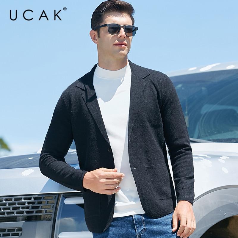 Классический однотонный кардиган бренда UCAK, Мужская одежда, новая осенняя Повседневная Уличная одежда с мультяшным рисунком, свитер с карм...