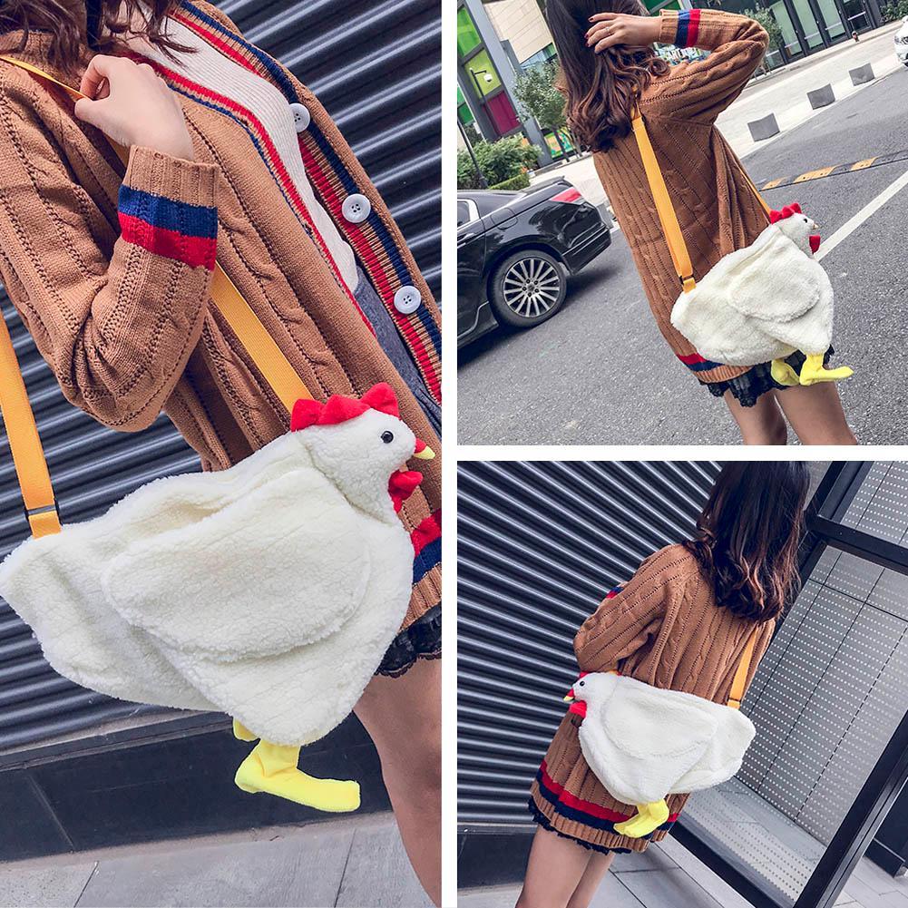Fashion Cartoon Crossbody Bag Ladies Lovely Hen Pattern Shoulder Bag Casual Accessories Solid Color Handbags