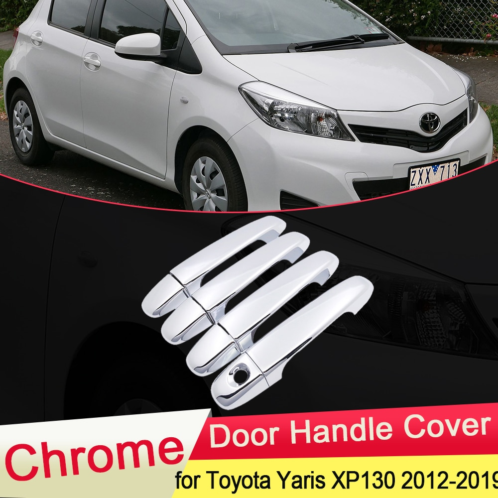 Para Toyota Yaris Vitz XP130 2012 2013 2014 2015 2016 2017 2018 2019 Porta Chrome Punho Tampa Exterior Styling Acessórios Do Carro