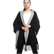 2019 invierno casual suelta borla de punto de Cachemira Batwing moda mujeres chal doble manga larga Cardigan largo grueso Poncho capas