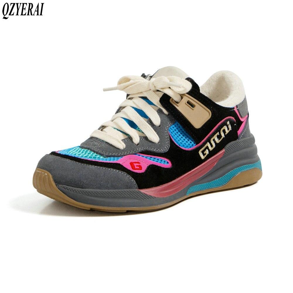 QZYERAI-حذاء نسائي برباط من الجلد الطبيعي ، حذاء مريح ، مبركن ، حديث