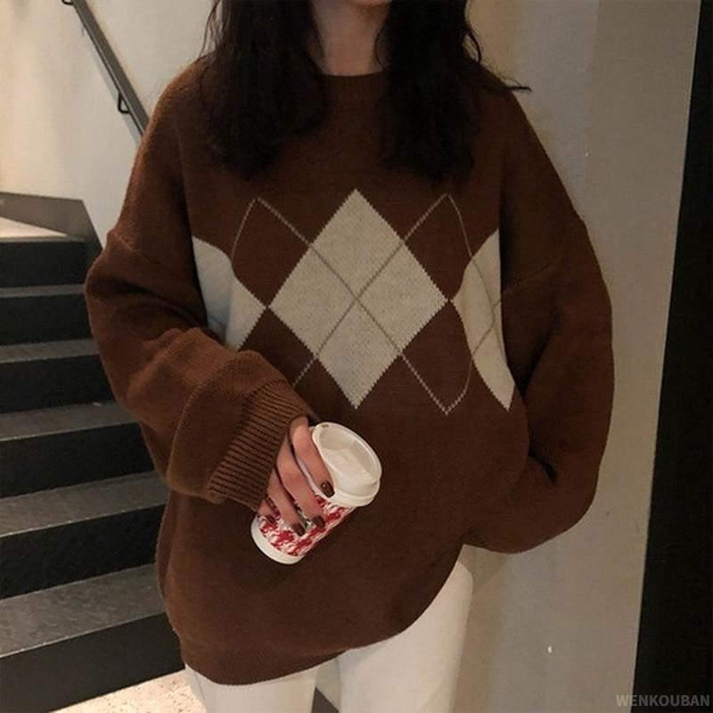 Женский вязаный Свитер оверсайз, модные пуловеры, женский зимний свободный свитер, женский джемпер в корейском студенческом стиле, женский ...