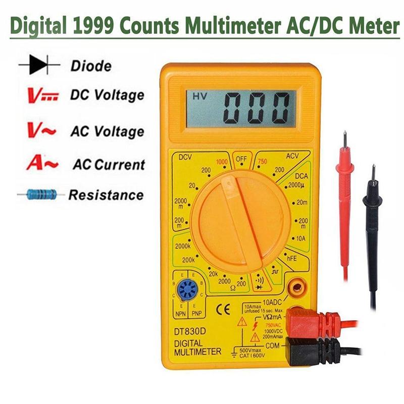 Multímetro Digital Mini Junejour con voltaje del zumbador, sonda de prueba, multímetro Digital AC/DC amperímetro voltímetro