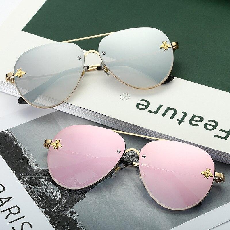 2021 New Fashion Lady Oversize Rimless Square Bee Sunglasses Women Men Small Bee Glasses Gradient Su