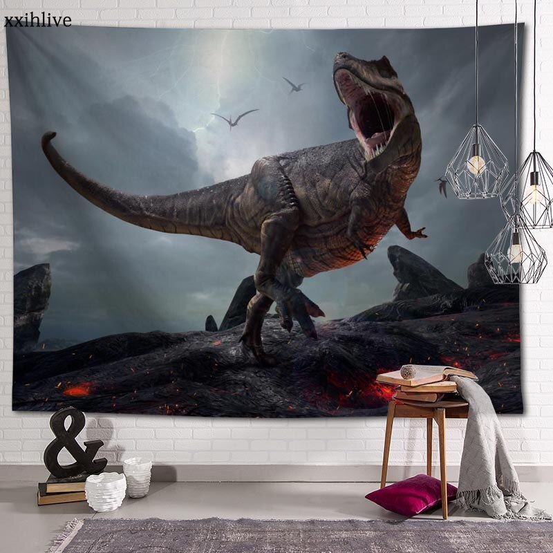 Гобелен на заказ с принтом динозавра, большие настенные гобелены в стиле хиппи, настенное украшение в богемном стиле, украшение для комнаты ...