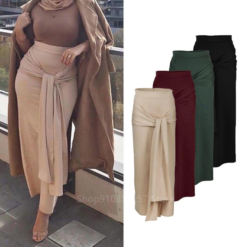 عباية-فستان إسلامي نسائي ، تنورة لون سادة ، نمط دبي ، أنيق ، مرن ، خصر مرتفع ، مخطط ، ملابس إسلامية ، حجاب ، قفطان