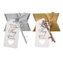 5pcs Wedding Bottle Openers Retro Key Shaped Zinc Alloy Openers with Candy Bag Tags Ribbon Holiday P