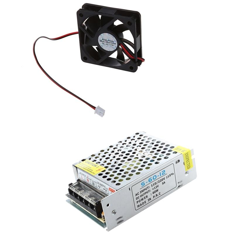 1x12v 5a fonte de alimentação de comutação para luz de tira led & 1x dc 12v 2 pinos ventilador de refrigeração 60mm x 15mm para computador de computador
