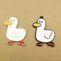 10pcs alloy enamel little duck charms pendant oil drop cartoon drake pendants fit diy earring bracelet jewelry accessory yz657